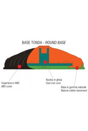 Base tonda composta da un nucleo in ghisa ricoperta da un elegante protezione in ABS montata su una base in gomma