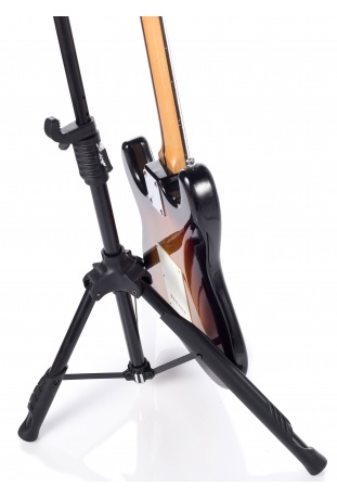 Tripod legs are covered with natural rubber with slots for picks on the central leg