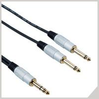 Cavi interlink - jack stereo Ø 6,3 mm - 2 x jack Ø 6,3 mm
