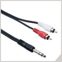 Adaptor cables - Ø 6,3 mm stereo jack - 2 x RCA