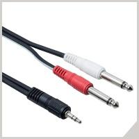 Cavi adattatori - jack stereo Ø 3,5 mm - 2 x jack Ø 6,3 mm
